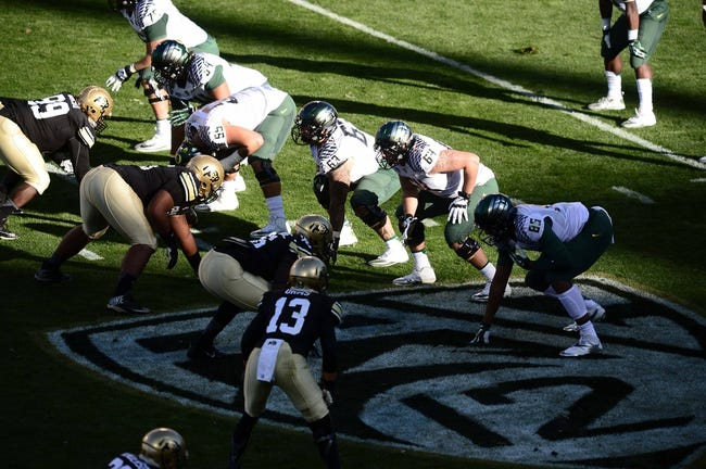 Oct 5, 2013; Boulder, CO, USA; Members of the Oregon Ducks line across from the Colorado Buffaloes during the game against the Colorado Buffaloes at Folsom Field. Mandatory Credit: Ron Chenoy-USA TODAY Sports