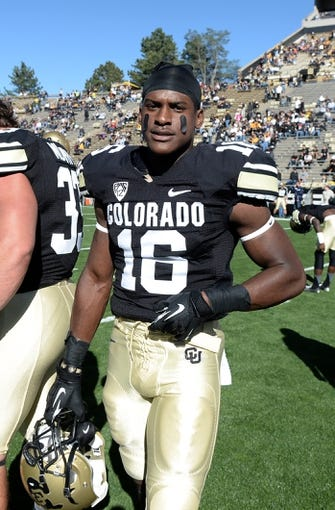 Oct 5, 2013; Boulder, CO, USA; Colorado Buffaloes defensive back Jeffrey Hall (16) before the start of the game against the Oregon Ducks at Folsom Field. Mandatory Credit: Ron Chenoy-USA TODAY Sports