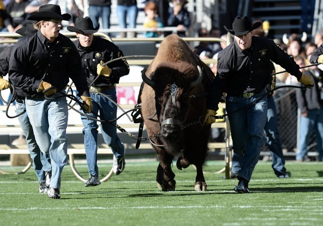 Oct 5, 2013; Boulder, CO, USA; Colorado Buffaloes mascot is released before the game against the Oregon Ducks at Folsom Field. Mandatory Credit: Ron Chenoy-USA TODAY Sports