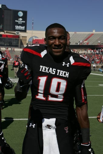 Oct 12, 2013; Lubbock, TX, USA; Texas Tech Red Raiders wide receiver Derrick Edwards (19) after the game with the Iowa State Cyclones at Jones AT&T Stadium. Mandatory Credit: Michael C. Johnson-USA TODAY Sports