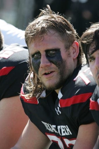 Oct 12, 2013; Lubbock, TX, USA; Texas Tech Red Raiders offensive lineman Beau Carpenter (72) on the bench during the game with the Iowa State Cyclones at Jones AT&T Stadium. Mandatory Credit: Michael C. Johnson-USA TODAY Sports