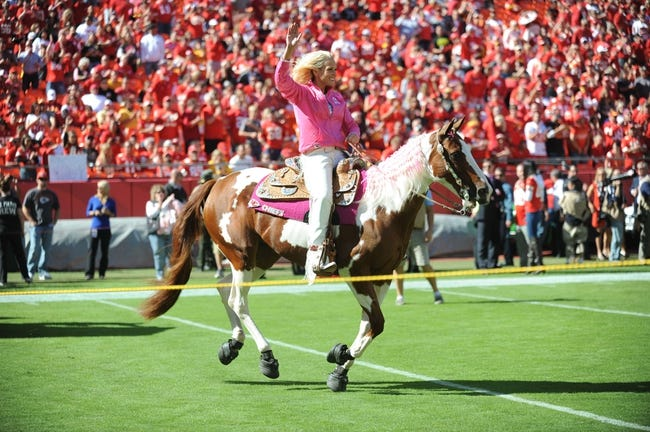 Oct 13, 2013; Kansas City, MO, USA; The Kansas City Chiefs mascot WarPaint is ridden out on the field before the game against the Oakland Raiders at Arrowhead Stadium. The Chiefs won 24-7. Mandatory Credit: Denny Medley-USA TODAY Sports