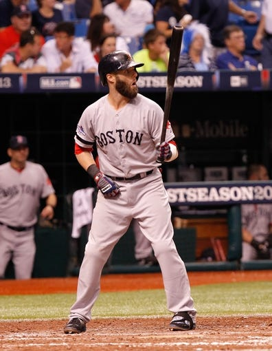 Oct 7, 2013; St. Petersburg, FL, USA; Boston Red Sox second baseman Dustin Pedroia (15) against the Tampa Bay Rays of game three of the American League divisional series at Tropicana Field. Mandatory Credit: Kim Klement-USA TODAY Sports