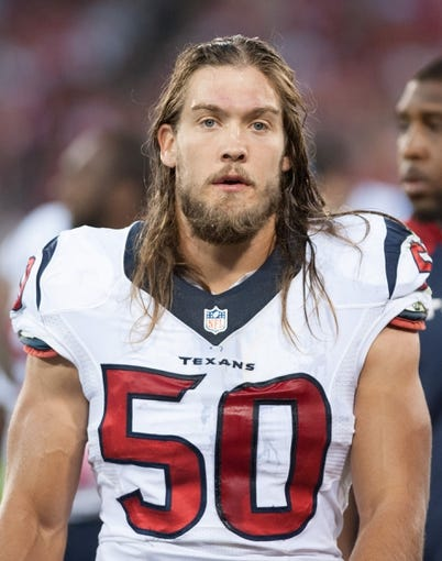 Oct 6, 2013; San Francisco, CA, USA; Houston Texans linebacker Bryan Braman (50) looks on during the game against the San Francisco 49ers at Candlestick Park. Mandatory Credit: Ed Szczepanski-USA TODAY Sports