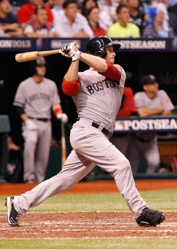 Oct 7, 2013; St. Petersburg, FL, USA; Boston Red Sox right fielder Daniel Nava (29) at bat against the Tampa Bay Rays of game three of the American League divisional series at Tropicana Field. Mandatory Credit: Kim Klement-USA TODAY Sports