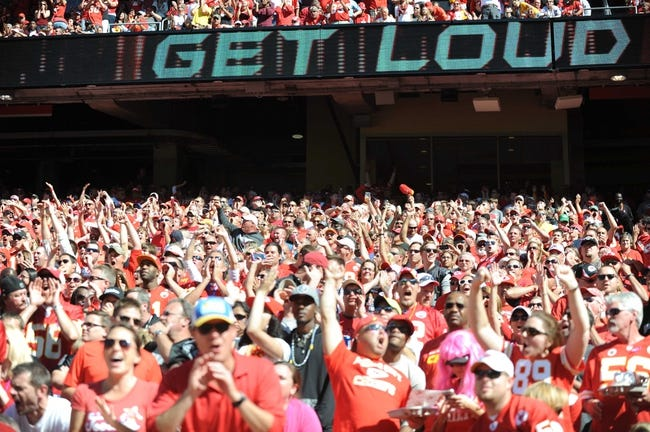 Oct 13, 2013; Kansas City, MO, USA; Kansas City Chiefs fans set a new world record for the loudest stadium in the NFL at 137.5 decibels during the game against the Oakland Raiders at Arrowhead Stadium. The Chiefs won 24-7. Mandatory Credit: Denny Medley-USA TODAY Sports