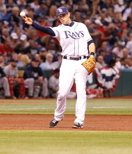 Oct 7, 2013; St. Petersburg, FL, USA; Tampa Bay Rays third baseman Evan Longoria (3) throws the ball against the Boston Red Sox of game three of the American League divisional series at Tropicana Field. Mandatory Credit: Kim Klement-USA TODAY Sports