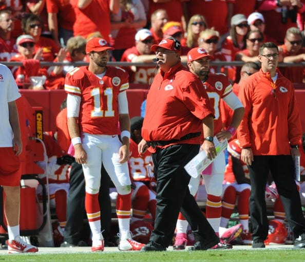 Oct 13, 2013; Kansas City, MO, USA; Kansas City Chiefs head coach Andy Reid watches play from the sidelines during the first half of the game against the Oakland Raiders at Arrowhead Stadium. The Chiefs won 24-7. Mandatory Credit: Denny Medley-USA TODAY Sports