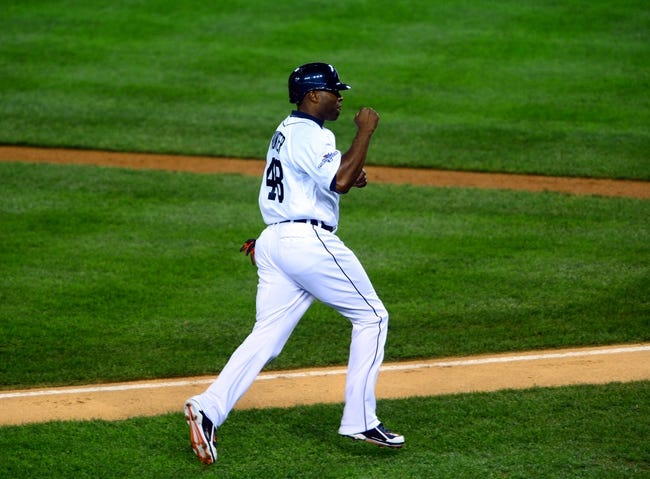 Oct 16, 2013; Detroit, MI, USA;  Detroit Tigers right fielder Torii Hunter (48) scores against the Boston Red Sox during the second inning in game four of the American League Championship Series baseball game at Comerica Park. Mandatory Credit: Andrew Weber-USA TODAY Sports