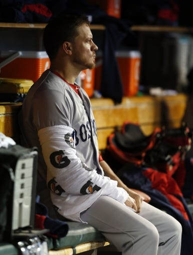 Oct 16, 2013; Detroit, MI, USA; Boston Red Sox starting pitcher Jake Peavy (44) reacts in the dugout during the fourth inning in game four of the American League Championship Series baseball game against the Detroit Tigers at Comerica Park. Mandatory Credit: Rick Osentoski-USA TODAY Sports
