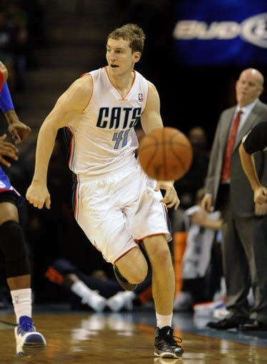 Oct 17, 2013; Charlotte, NC, USA; Charlotte Bobcats forward Cody Zeller (40) drives down the court during the pre season game against the Philadelphia 76ers at Time Warner Cable Arena. Mandatory Credit: Sam Sharpe-USA TODAY Sports