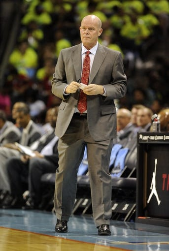 Oct 17, 2013; Charlotte, NC, USA; Charlotte Bobcats head coach Steve Clifford during the pre season game against the Philadelphia 76ers at Time Warner Cable Arena. Mandatory Credit: Sam Sharpe-USA TODAY Sports