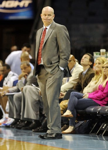 Oct 17, 2013; Charlotte, NC, USA; Charlotte Bobcats head coach Steve Clifford during the pre season game against the Philadelphia 76ers at Time Warner Cable Arena. Bobcats win 110-84.  Mandatory Credit: Sam Sharpe-USA TODAY Sports