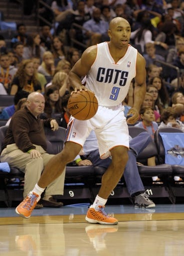 Oct 17, 2013; Charlotte, NC, USA; Charlotte Bobcats guard Gerald Henderson (9) during the pre season game against the Philadelphia 76ers at Time Warner Cable Arena. Bobcats win 11-84.  Mandatory Credit: Sam Sharpe-USA TODAY Sports