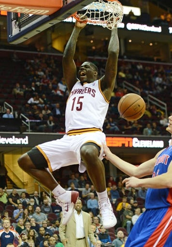 Oct 17, 2013; Cleveland, OH, USA; Cleveland Cavaliers forward Anthony Bennett dunks the ball during the first half against the Detroit Pistons at Quicken Loans Arena. Mandatory Credit: Eric P. Mull-USA TODAY Sports