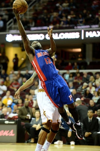 Oct 17, 2013; Cleveland, OH, USA; Detroit Pistons point guard Will Bynum (12) drives to basket against the Cleveland Cavaliers during the game at Quicken Loans Arena. Mandatory Credit: Eric P. Mull-USA TODAY Sports