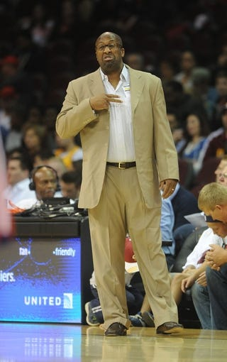 Oct 17, 2013; Cleveland, OH, USA; Cleveland Cavaliers head coach Mike Brown instructs during the game against the Detroit Pistons at Quicken Loans Arena. Mandatory Credit: Eric P. Mull-USA TODAY Sports