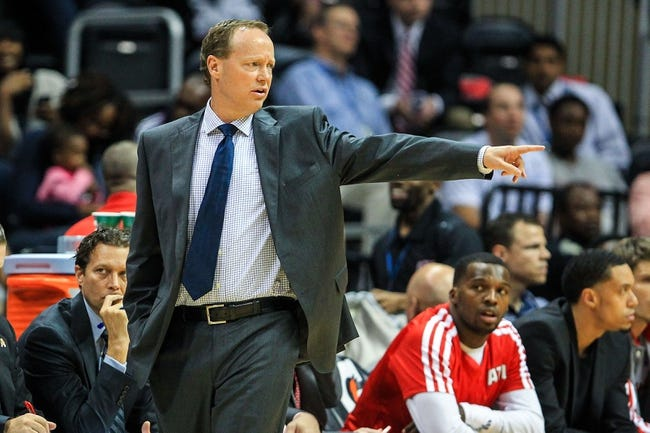 Oct 17, 2013; Atlanta, GA, USA; Atlanta Hawks head coach Mike Budenholzer calls a play in the first half against the San Antonio Spurs at Philips Arena. Mandatory Credit: Daniel Shirey-USA TODAY Sports