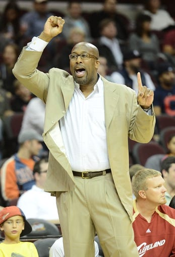 Oct 17, 2013; Cleveland, OH, USA; Cleveland Cavaliers head coach Mike Brown during the game against the Detroit Pistons at Quicken Loans Arena. Mandatory Credit: Eric P. Mull-USA TODAY Sports
