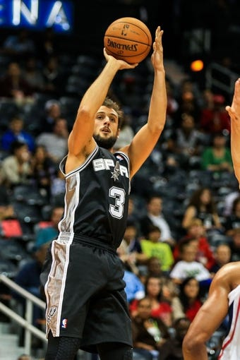 Oct 17, 2013; Atlanta, GA, USA; San Antonio Spurs shooting guard Marco Belinelli (3) shoots a basket in the second half against the Atlanta Hawks at Philips Arena. The Spurs won 106-104. Mandatory Credit: Daniel Shirey-USA TODAY Sports