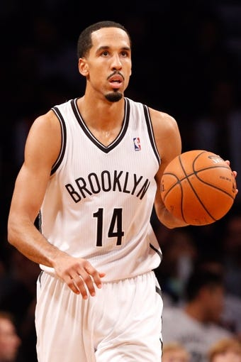 Oct 17, 2013; Brooklyn, NY, USA;  Brooklyn Nets point guard Shaun Livingston (14) advances the ball during the third quarter against the Miami Heat at Barclays Center. Brooklyn won 86-62.  Mandatory Credit: Anthony Gruppuso-USA TODAY Sports