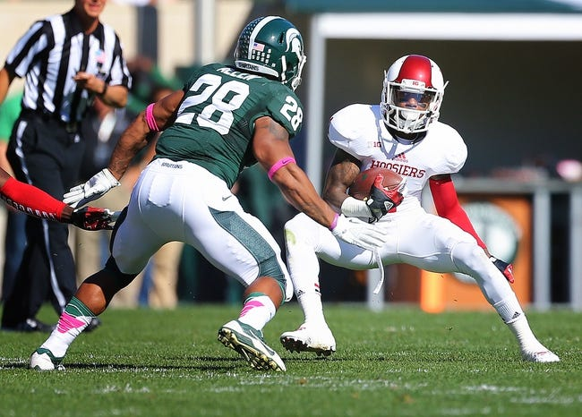 Oct 12, 2013; East Lansing, MI, USA; Indiana Hoosiers wide receiver Shane Wynn (1) runs for yards after the catch against Michigan State Spartans linebacker Denicos Allen (28) during the first half in a game at Spartan Stadium. Mandatory Credit: Mike Carter-USA TODAY Sports