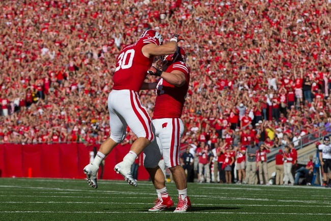 Oct 12, 2013; Madison, WI, USA; Wisconsin Badgers linebacker Derek Landisch (30) and linebacker Chris Borland (44) celebrate a play during the game against the Northwestern Wildcats at Camp Randall Stadium.  Wisconsin won 35-6.  Mandatory Credit: Jeff Hanisch-USA TODAY Sports