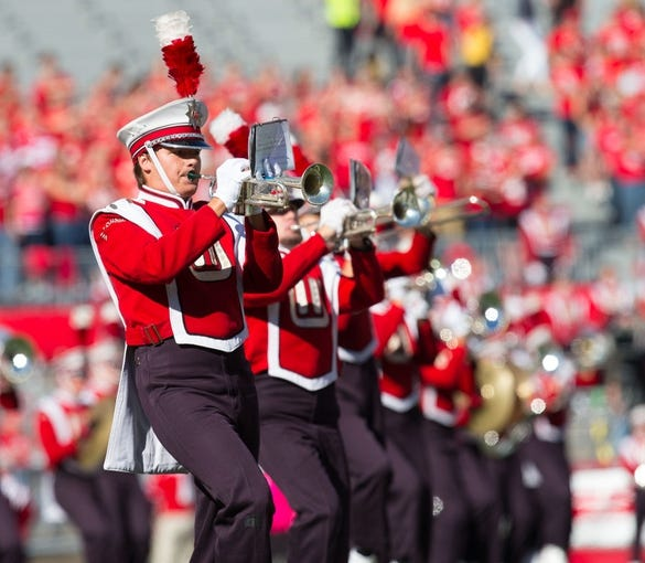 Oct 12, 2013; Madison, WI, USA; The Wisconsin Badgers marching band performs prior to the game against the Northwestern Wildcats at Camp Randall Stadium.  Wisconsin won 35-6.  Mandatory Credit: Jeff Hanisch-USA TODAY Sports