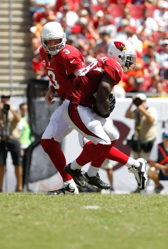 Sep 29, 2013; Tampa, FL, USA; Arizona Cardinals quarterback Carson Palmer (3) hands the ball off to running back Andre Ellington (38) during the first half against the Tampa Bay Buccaneers at Raymond James Stadium. Mandatory Credit: Kim Klement-USA TODAY Sports