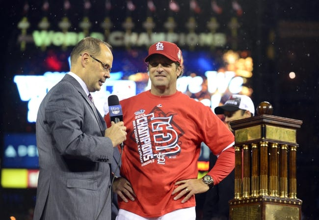 Oct 18, 2013; St. Louis, MO, USA; St. Louis Cardinals manager Mike Matheny is interviewed after game six of the National League Championship Series baseball game against the Los Angeles Dodgers at Busch Stadium. Mandatory Credit: Jeff Curry-USA TODAY Sports