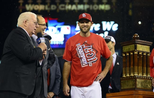 Oct 18, 2013; St. Louis, MO, USA; St. Louis Cardinals starting pitcher Michael Wacha smiles as he is presented with the series MVP award after game six of the National League Championship Series baseball game against the Los Angeles Dodgers at Busch Stadium. Mandatory Credit: Jeff Curry-USA TODAY Sports