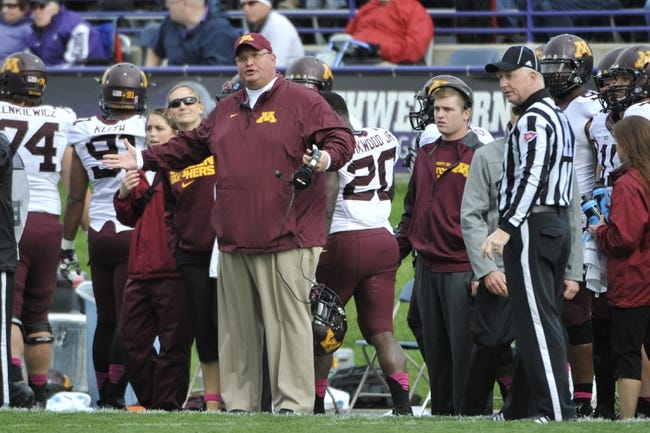 Oct 19, 2013; Evanston, IL, USA; Minnesota Golden Gophers interim head coach  Tracy Claeys during the second half against the Northwestern Wildcats at Ryan Field.  The Minnesota Golden Gophers defeated the Northwestern Wildcats 20-17. Mandatory Credit: David Banks-USA TODAY Sports