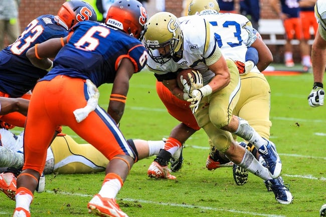 Oct 19, 2013; Atlanta, GA, USA; Georgia Tech Yellow Jackets running back Zach Laskey (37) runs for a touchdown in the second half against Syracuse at Bobby Dodd Stadium. Georgia Tech won 56-0. Mandatory Credit: Daniel Shirey-USA TODAY Sports