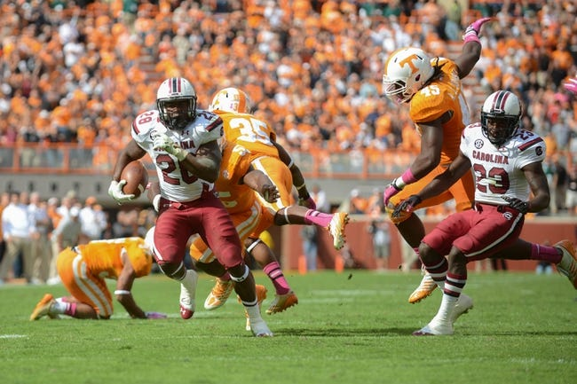 Oct 19, 2013; Knoxville, TN, USA; South Carolina Gamecocks running back Mike Davis (28) runs the ball against the Tennessee Volunteers during the second half at Neyland Stadium. Tennessee won 23 to 21.  Mandatory Credit: Randy Sartin-USA TODAY Sports