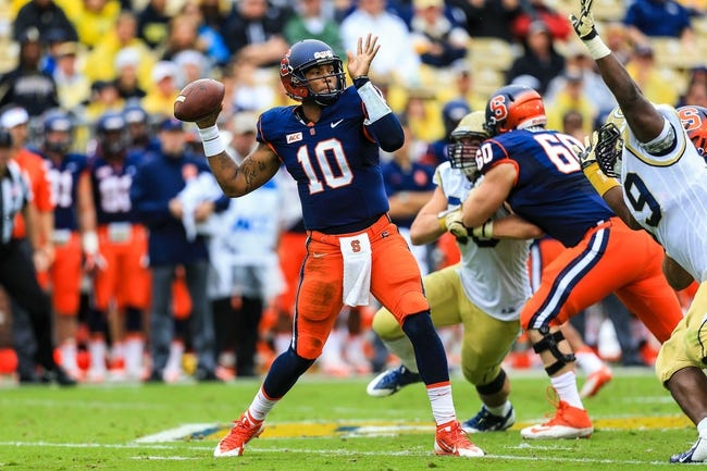 Oct 19, 2013; Atlanta, GA, USA; Syracuse Orange quarterback Terrel Hunt (10) throws a pass in the first half against the Georgia Tech Yellow Jackets at Bobby Dodd Stadium. Mandatory Credit: Daniel Shirey-USA TODAY Sports