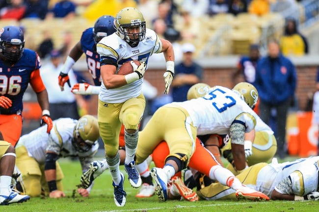 Oct 19, 2013; Atlanta, GA, USA; Georgia Tech Yellow Jackets running back Zach Laskey (37) runs the ball in the first half against Syracuse at Bobby Dodd Stadium. Mandatory Credit: Daniel Shirey-USA TODAY Sports