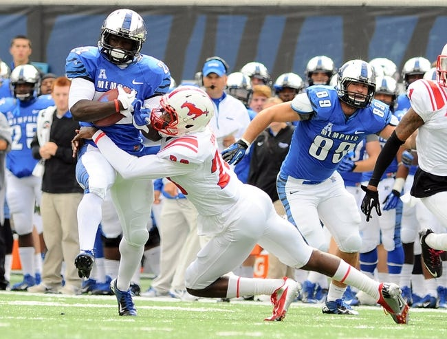 Oct 19, 2013; Memphis, TN, USA; Memphis Tigers running back Doroland Dorceus (22) catches a pass thrown during the fourth quarter against the SMU Mustangs at Liberty Bowl Memorial. Southern Methodist Mustangs defeats Memphis Tigers 34 - 29. Mandatory Credit: Justin Ford-USA TODAY Sports