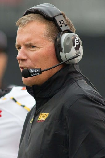 Oct 19, 2013; Winston-Salem, NC, USA; Maryland Terrapins head coach Randy Edsall looks on during the first quarter of the game against the Wake Forest Demon Deacons at BB&T Field. Mandatory Credit: Jeremy Brevard-USA TODAY Sports