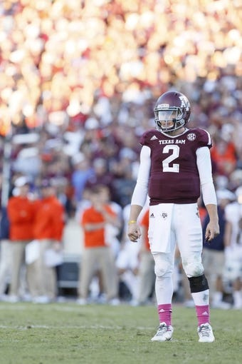 Oct 19, 2013; College Station, TX, USA; Texas A&M Aggies quarterback Johnny Manziel (2) during the second half against the Auburn Tigers at Kyle Field. Tigers won 45-41. Mandatory Credit: Soobum Im-USA TODAY Sports