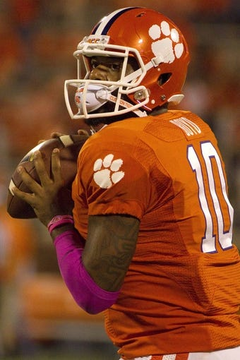 Oct 19, 2013; Clemson, SC, USA; Clemson Tigers quarterback Tajh Boyd (10) warms up prior to the game against the Florida State Seminoles at Clemson Memorial Stadium. Mandatory Credit: Joshua S. Kelly-USA TODAY Sports