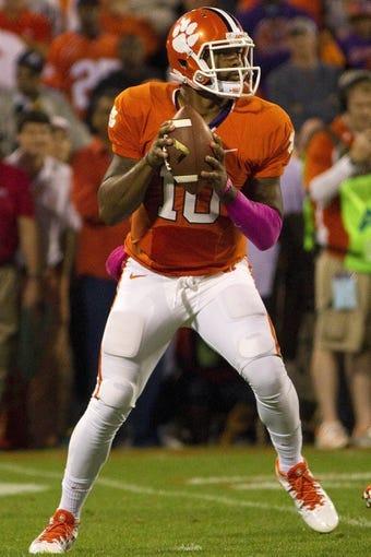Oct 19, 2013; Clemson, SC, USA; Clemson Tigers quarterback Tajh Boyd (10) prepares to pass the ball during the first quarter against the Florida State Seminoles at Clemson Memorial Stadium. Mandatory Credit: Joshua S. Kelly-USA TODAY Sports