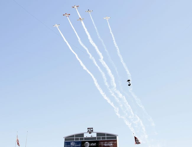 Oct 19, 2013; College Station, TX, USA; Planes perform a fly over before a game between the Texas A&M Aggies and Auburn Tigers at Kyle Field. Mandatory Credit: Soobum Im-USA TODAY Sports