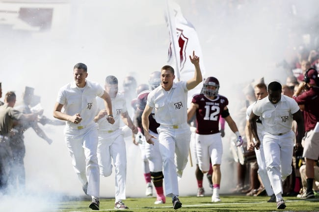 Oct 19, 2013; College Station, TX, USA; Texas A&M take the field prior to the game against the Auburn Tigers at Kyle Field. Mandatory Credit: Soobum Im-USA TODAY Sports
