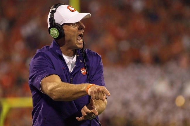 Oct 19, 2013; Clemson, SC, USA; Clemson Tigers defensive coordinator Brent Venables yells from the sidelines during the first half at Clemson Memorial Stadium. Mandatory Credit: Joshua S. Kelly-USA TODAY Sports