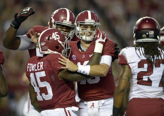 Oct 19, 2013; Tuscaloosa, AL, USA; Alabama Crimson Tide running back Jalston Fowler (45) celebrates with Alabama Crimson Tide quarterback A.J. McCarron (10) after his touchdown against the Arkansas Razorbacks during the first quarter at Bryant-Denny Stadium. Mandatory Credit: John David Mercer-USA TODAY Sports