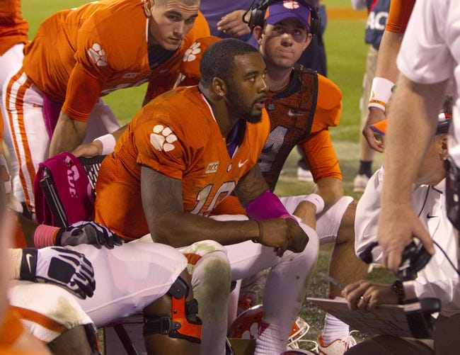 Oct 19, 2013; Clemson, SC, USA; Clemson Tigers quarterback Tajh Boyd (10) reacts on the sidelines during the third quarter against the Florida State Seminoles at Clemson Memorial Stadium. Mandatory Credit: Joshua S. Kelly-USA TODAY Sports