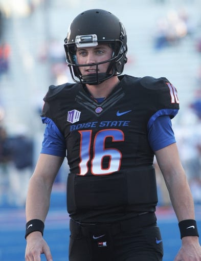 Oct 19, 2013; Boise, ID, USA; Boise State Broncos quarterback Joe Southwick (16) before the game  against the Nevada Wolf Pack at Bronco Stadium. Southwick suffered a broken ankle on the first offensive play for Boise State. The Broncos defeated the Wolf Pack 34-17. Mandatory Credit: Brian Losness-USA TODAY Sports