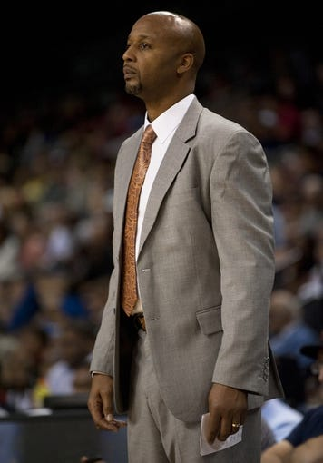 Oct 19, 2013; Las Vegas, NV, USA; Denver Nuggets head coach Brian Shaw looks on during an NBA preseason game against the Los Angeles Clippers at Mandalay Bay Events Center. Mandatory Credit: Stephen R. Sylvanie-USA TODAY Sports