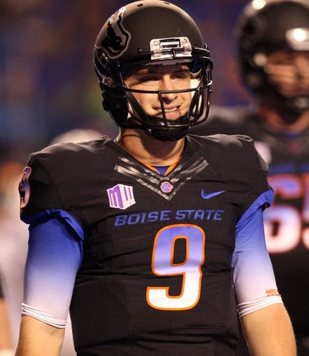 Oct 19, 2013; Boise, ID, USA; Boise State Broncos quarterback Grant Hedrick (9) during the second half against the Nevada Wolf Pack at Bronco Stadium. The Broncos won 34-17. Mandatory Credit: Brian Losness-USA TODAY Sports