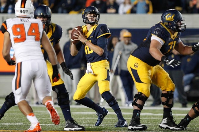 Oct 19, 2013; Berkeley, CA, USA; California Golden Bears quarterback Jared Goff (16) prepares to throw the ball against the Oregon State Beavers during the second quarter at Memorial Stadium. Mandatory Credit: Kelley L Cox-USA TODAY Sports